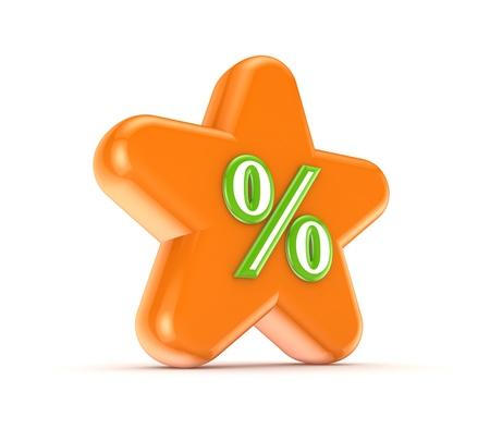 Orange star with a green percents symbol Stock Photo - 15649367