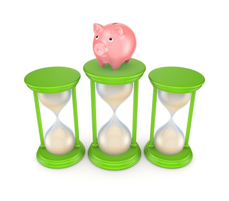 Pink piggy bank and green sand glasses  photo