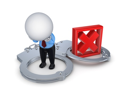 3d small person, handcuff and red cross mark Stock Photo - 15649366