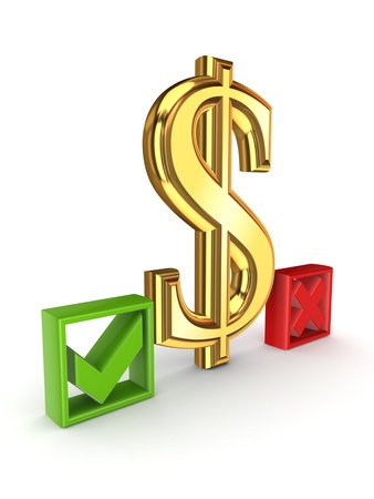 Dollar sign between tick and cross marks Stock Photo - 15649945