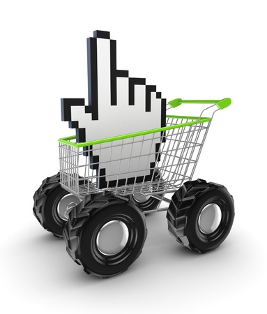 Cursor in a shopping trolley  photo