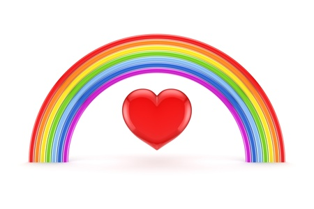 Rainbow and heart symbol  photo