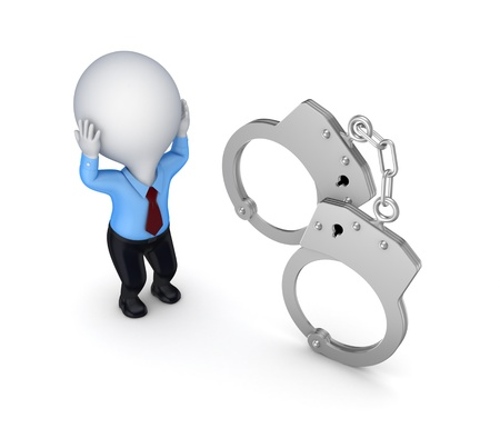 Stressed 3d small person and handcuff  Stock Photo - 15649896