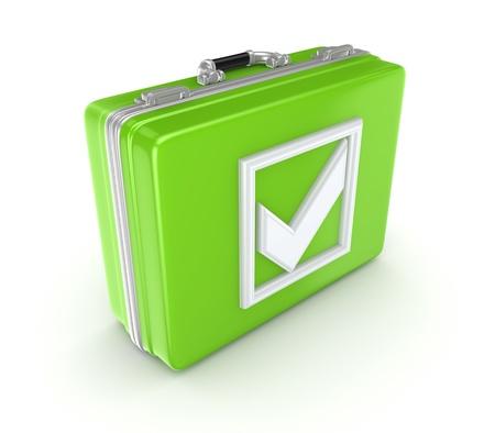 White tick mark on a green suitcase  photo