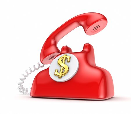 stockmarket: Vintage telephone with golden dollar sign  Stock Photo