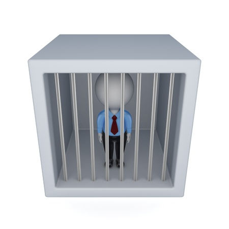 trapped: 3d small person in a jail