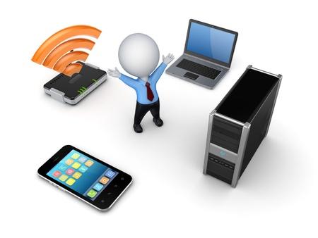 wlan: Electronics around 3d small person  Stock Photo