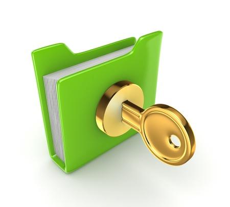Golden key in a green folder Stock Photo - 15668818