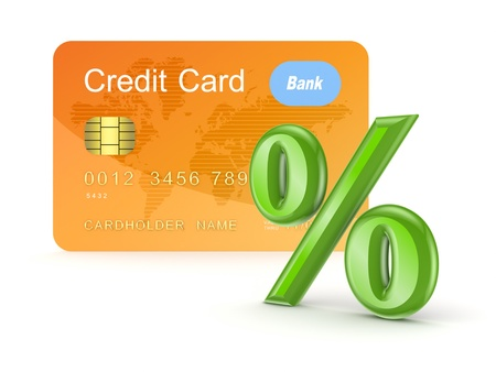 Credit card and percents symbol  Stock Photo - 15654654