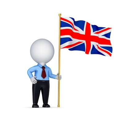 british man: 3d small person with a weaving british flag