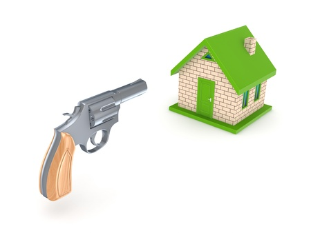 Revolver and small house Stock Photo - 15648927