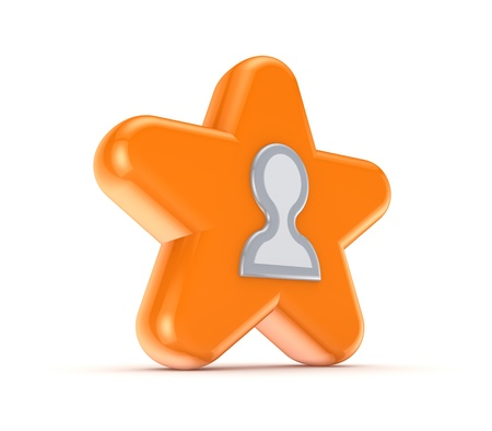 Orange star with a white contacts icon Stock Photo - 15648988