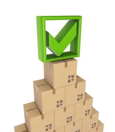 Green tick mark and carton boxes Stock Photo - 15672276