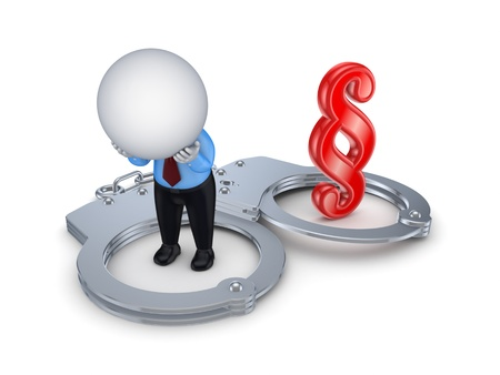 Sad 3d small person, handcuff and paragraph sign  Stock Photo - 15649369