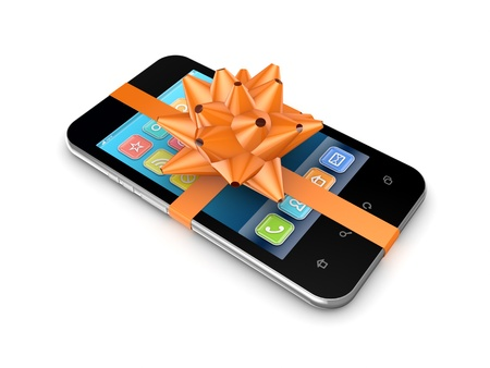 Modern mobile phone decorated with an orange ribbon  photo