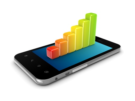 Colorful graph on a modern mobile phone  Stock Photo