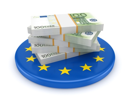 European Union symbol and packs of euro  photo