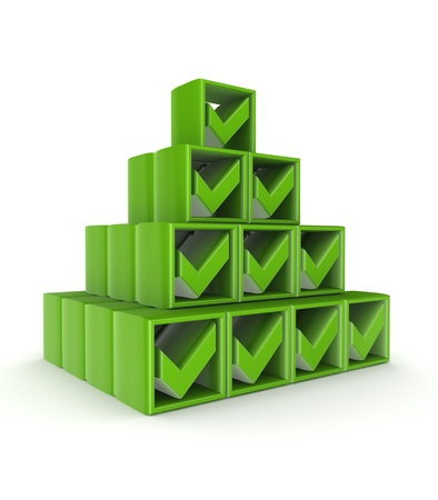 Pyramid made of green tick marks  Stock Photo - 15672175