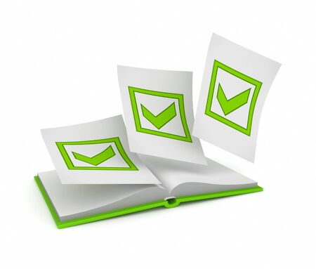 Opened book and green tick marks  Stock Photo - 15649913