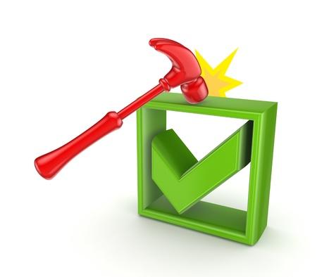 A hammer that hits green tick mark  photo