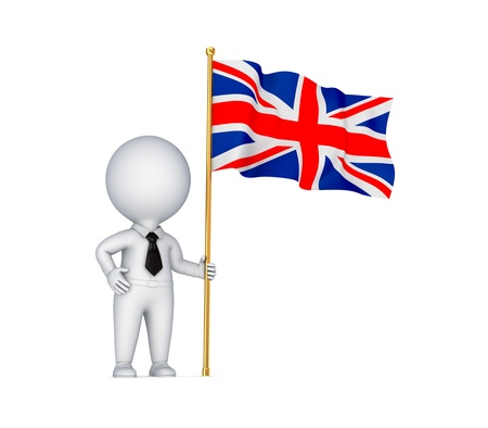 3d small person with a weaving british flag   photo