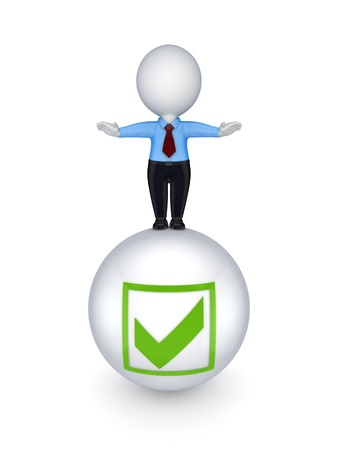 3d small person on a ball with a tick mark Stock Photo - 15638900