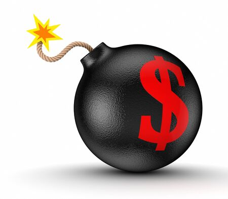 Dollar sign on a black bomb Stock Photo - 15672461