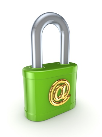 Green lock with golden AT sign Stock Photo - 15649032