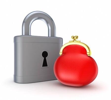 Vintage lock and red purse Stock Photo - 15672730
