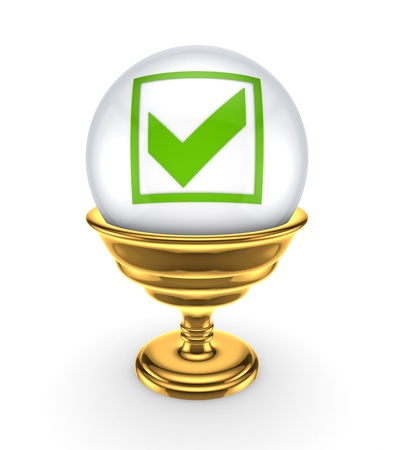 Green tick mark on a white sphere  Stock Photo - 15672277