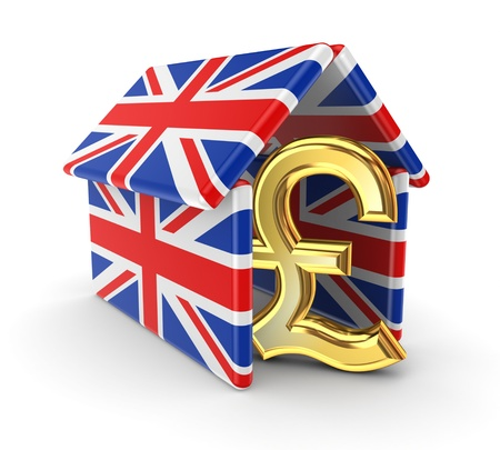pound sterling: Pound sterling under british flags  Stock Photo