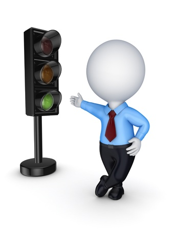 Traffic light and 3d small person  Stock Photo