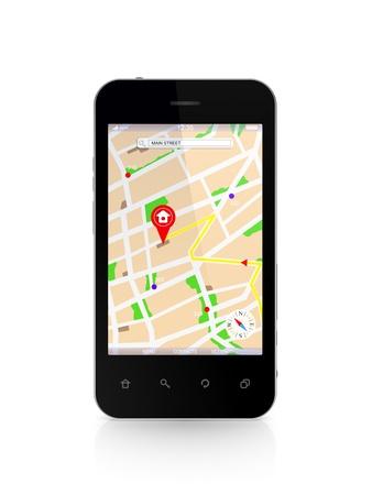 Modern mobile phone with GPS navigator