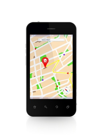 Modern mobile phone with GPS navigator  photo