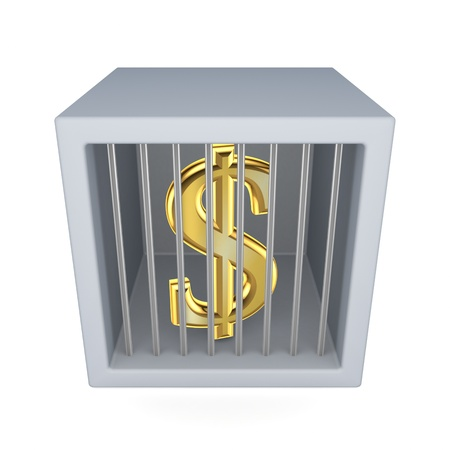 incarceration: Dollar sign in a prison  Stock Photo
