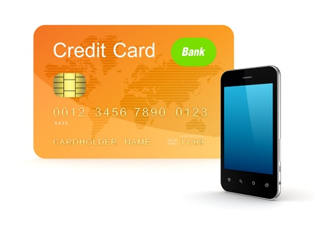 Credit card and modern mobile phone  photo