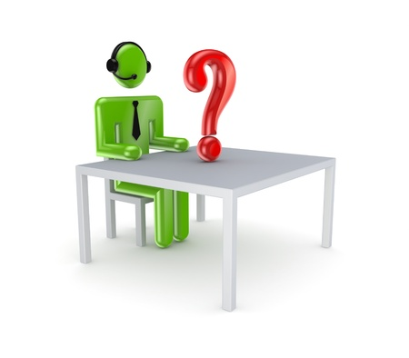 questionail: Sitting small person and red query mark  Stock Photo