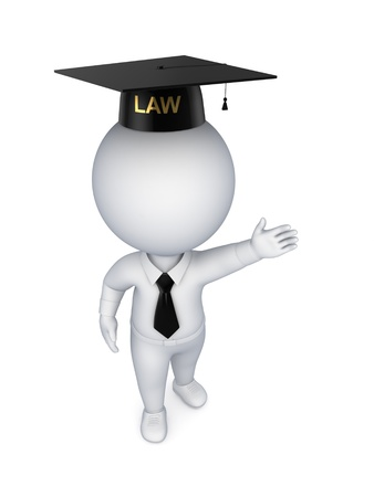 law suit: 3d small person in a jidge s hat