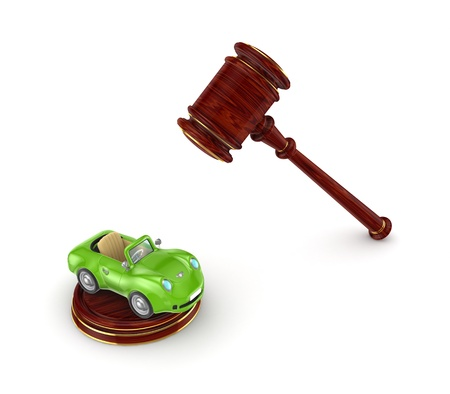 Wooden hammer and green car  photo