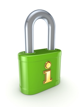 Green lock with golden Info sign  Stock Photo - 15667622