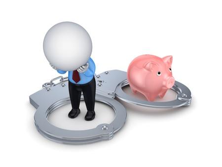 3d small person, handcuff and pink piggy bank  Stock Photo - 15667500
