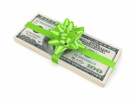 Dollar pack decorated with a green ribbon  Stock Photo - 15666643