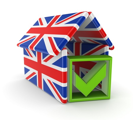 Tick mark under the roof made of english flags  photo