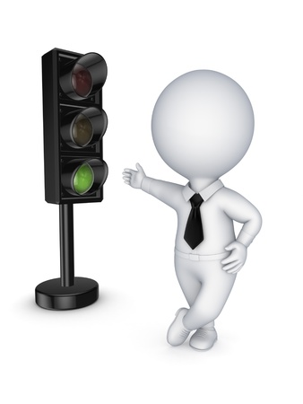 manage transportation: Traffic light and 3d small person  Stock Photo
