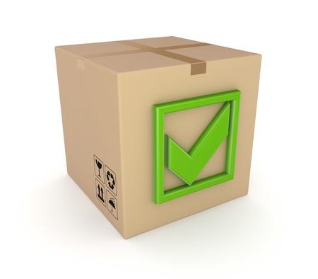 green tick: Green tick mark on a carton box  Stock Photo