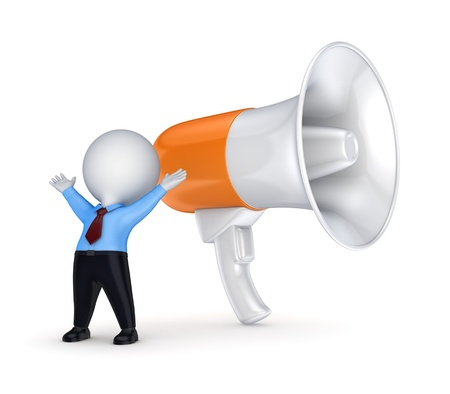 loud noise: Megaphone and 3d small person