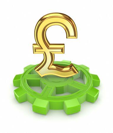 pound sterling: Pound sterling on a gear  Stock Photo