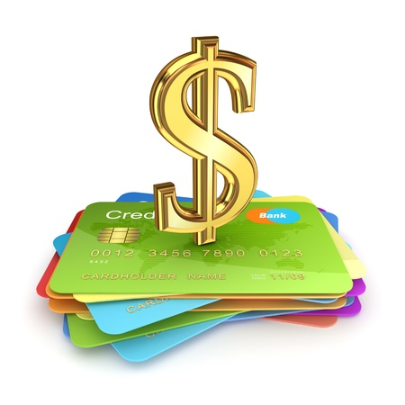 Golden dollar sign on a colorful credit cards Stock Photo - 15666649