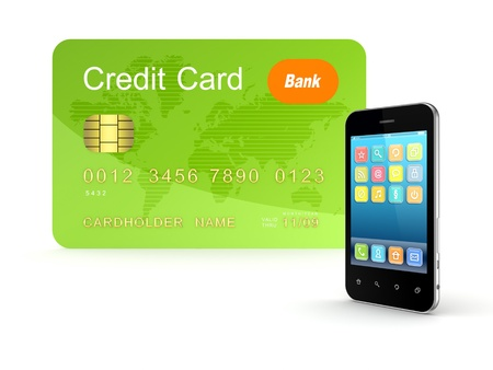 Credit card and modern mobile phone  Stock Photo - 15666985