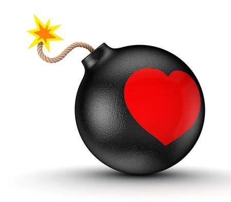 explodindo: Cora��o vermelho em uma bomba preta Banco de Imagens